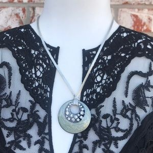 Lia Sophia grey enamel rhinestone circle necklace